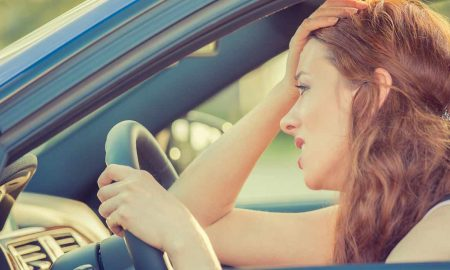 woman caught in traffic jam