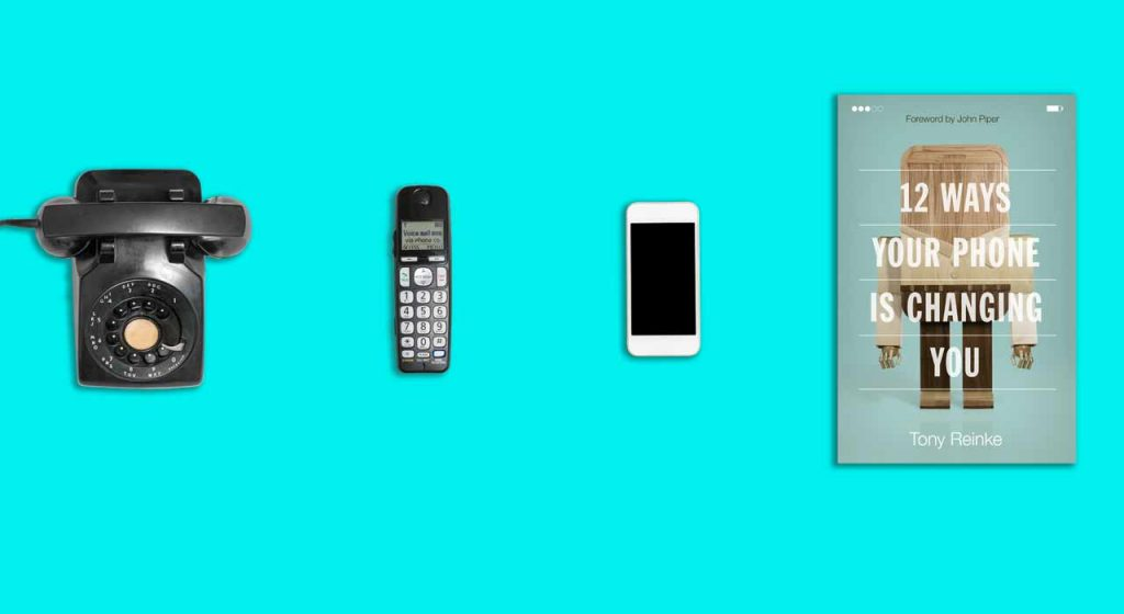 a picture of a rotary phone, cell phone, smartphone, and Tony Rienke's book