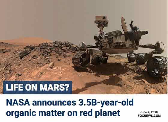 Fox news graphic on life on mars